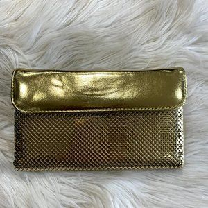 Whiting and Davis Gold  Mesh Link Wallet Clutch